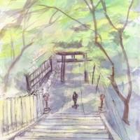 新緑の長岡天神の参道