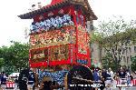 妖怪文化 祇園祭 : 胴掛は朱の地に金糸で刺繍された麒麟に、方位四神と獅子。見送には「雲龍」