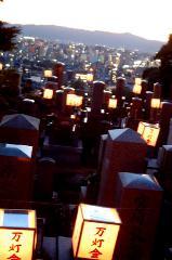 東大谷万灯会 : 万灯会(まんどうえ)といえば、多くの灯明をともして仏・菩薩(ぼさつ)を供養し、衆人の罪障を懺悔(さんげ)し、滅罪を祈願する伝統的な法会のことであるが、お盆の行事の一環として執り行われ、夕涼みを兼ねた風物詩となっている。