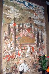 千本釈迦念仏 彼岸会 : この日1日限りの公開となっている涅槃図。