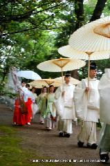 お田植祭  : 神官に続く神楽女