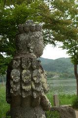 梅雨 野花菖蒲 : 観音様の石造
