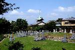 六道まいり 赤子塚伝説 幽霊子育飴 : 墓地の先には銅閣寺こと祇園閣が見える