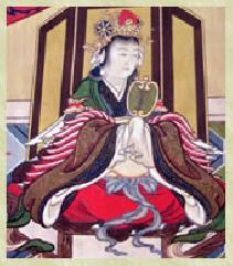 松尾祭 山王祭 : 鴨玉依姫神 (日吉大社所蔵の『山王曼荼羅』から引用転載)