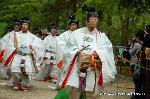葵祭 御蔭祭 : 糺の森を抜け本殿へ向う舞人