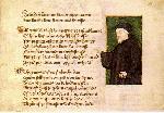 バレンタインデー : ジェフリー・チョーサーの肖像(1412)。バレンタインデーとロマンスを関連づけている文書で、現在のところ最古のものと見なされているのはチョーサーのParliament of Foulesである。