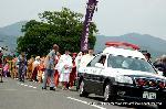 三船祭 春祭 : 渡月橋をわたり中ノ島公園剣先へ