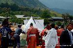 三船祭 春祭 : 御座船へ絹垣に囲われ神霊が遷されている